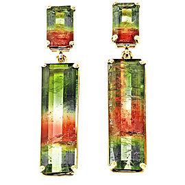 14K Yellow Gold Pink & Green Tourmaline Dangle Earrings