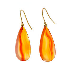 Peter Suchy 14K Yellow Gold with 32.8ct. Orange Calcedony Dangle Earrings
