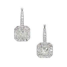 18K White Gold Diamond Halo Dangle Earrings