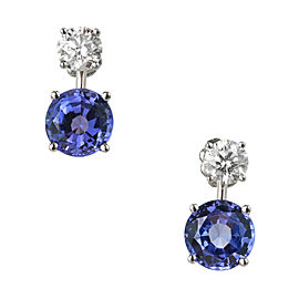 Platinum Blue Tanzanite Diamond Dangle Earrings