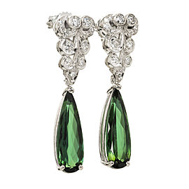 Peter Suchy Platinum Pear Tourmaline Dangle Earring Diamond