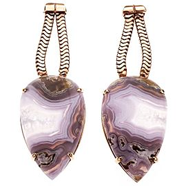 Peter Suchy Large Agate Dangle Earrings 14k Pink Gold
