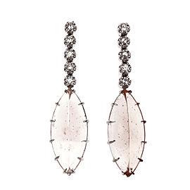 Peter Suchy 16.60ct Marquise Morganite Dangle Earrings 14k White Gold Diamond