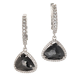 Peter Suchy 3.89ct Black Diamond Dangle Halo Earrings 18k White Gold
