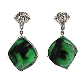 Peter Suchy Natural Emerald Dangle Earrings Platinum Diamond