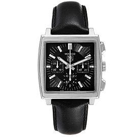 Tag Heuer Monaco Automatic Black Strap Steel Mens Watch CW2111