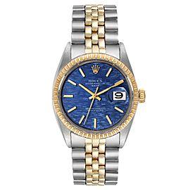Rolex Date Steel Yellow Gold Blue Brick Dial Vintage Mens Watch 1505