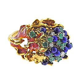 1970s Freeform Lapis Emerald Diamond Enamel Gold Ring