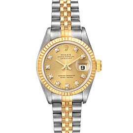 Rolex Datejust 26mm Steel Yellow Gold Diamond Ladies Watch 69173 Papers