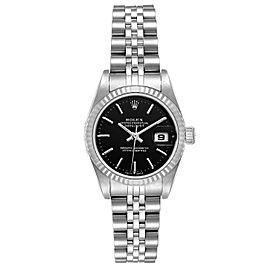 Rolex Datejust 26 Steel White Gold Black Dial Ladies Watch