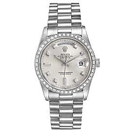 Rolex President Day-Date Silver Dial Platinum Diamond Mens Watch 18346