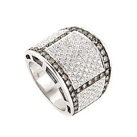 18K White Gold with Diamond Band Ring 7.25