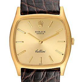 Rolex Cellini 18k Yellow Gold Brown Strap Mens Vintage Watch 3805