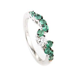 Salvini 18K White Gold Diamond & Emerald Band Ring Size 7.25
