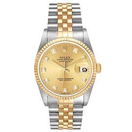 Rolex Datejust Steel Yellow Gold Champagne Diamond Dial Watch