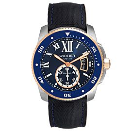 Cartier Calibre Diver Steel Rose Gold Blue Dial Watch W2CA0008 Box Papers