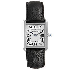 Cartier Tank Solo Steel Silver Dial Black Strap Watch