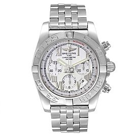 Breitling Chronomat 01 White Dial Steel Mens Watch AB0110 Box Papers