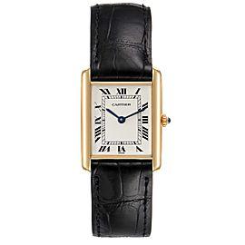 Cartier Tank Classic Paris Brown Strap 18k Yellow Gold Unisex Watch
