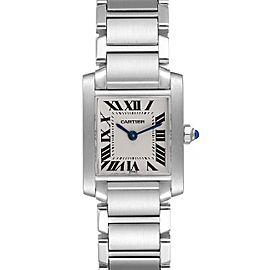 Cartier Tank Francaise Silver Dial Blue Hands Ladies Watch W51008Q3
