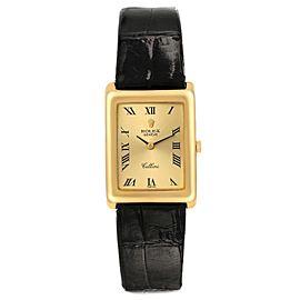 Rolex Cellini 18k Yellow Gold Champagne Dial Black Strap Ladies Watch 4103