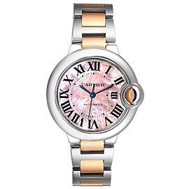 Cartier Ballon Bleu 33 Midsize Steel Rose Gold MOP Watch W6920098 Box Papers