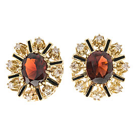 14K Yellow Gold with 4.20ct. Garnet & 0.56ct. Diamond Enamel Earrings