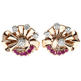 14K Rose & White Gold 0.50ct Pink Sapphire & 0.90ct Diamond Clip Post Earrings