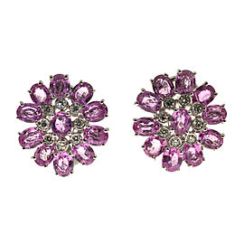 18K White Gold 11.00ct Pink Sapphire & Diamond Cluster Earrings