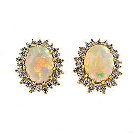 18K Yellow Gold 5.50ct Opal and Diamond Earrings