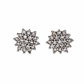 Diamond Round Cluster Earrings Platinum .40ct Total