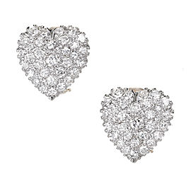 Estate 14k Two Tone Gold Fine Pave Round Diamond Heart Clip And Post Earrings