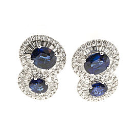 18K White Gold 2.43ct Sapphire & 1.22cts Diamond Earrings