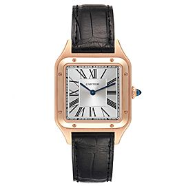 Cartier Santos Dumont Large Rose Gold Silver Dial Mens Watch WGSA0021
