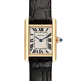 Cartier Tank Louis 18k Yellow Gold Black Strap Ladies Watch W1529856