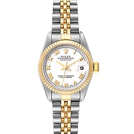 Rolex Datejust 26 Steel Yellow Gold White Dial Watch 79173 Box Papers