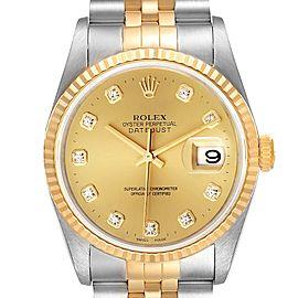 Rolex Datejust Steel Yellow Gold Diamond Dial Watch 16233