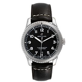 Breitling Navitimer Black Dial Leather Strap Steel Mens Watch