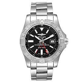 Breitling Aeromarine Avenger II GMT Black Dial Steel Mens Watch