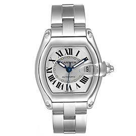 Cartier Roadster Silver Roman Dial Steel Mens Watch W62000V3 Box Papers