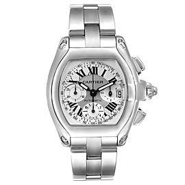 Cartier Roadster Silver Dial Chronograph Steel Mens Watch