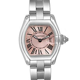 Cartier Roadster Pink Roman Dial Steel Mens Watch W62000V3 Box Papers