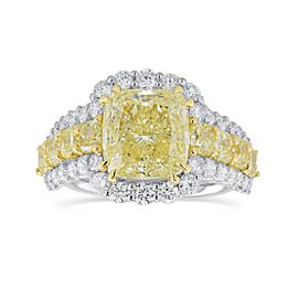 Leibish 18K White and Yellow Gold Fancy Yellow Radiant Diamond Ring Size 6