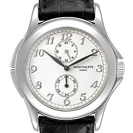 Patek Philippe Calatrava Travel Time White Gold Mens Watch 5134 Box Papers