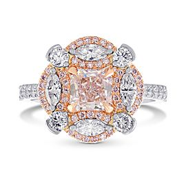 Leibish Platinum and 18K Rose Gold Fancy Light Pink Radiant Diamond Ring Size 6.50