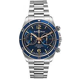 Bell & Ross Heritage Blue Dial Chronograph Steel Watch BRV294 Unworn