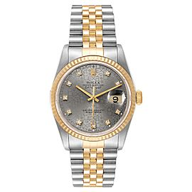 Rolex Datejust Steel Yellow Gold Jubilee Diamond Dial Watch 16233 Box Papers