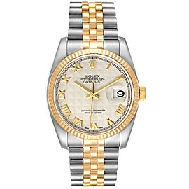 Rolex Datejust Steel Yellow Gold Pyramid Roman Dial Watch 116233 Box Papers