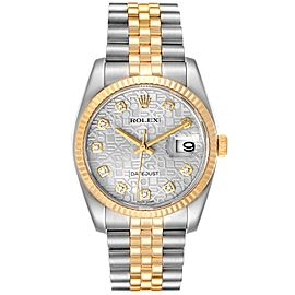 Rolex Datejust Steel Yellow Gold Diamond Dial Mens Watch 116233 Box Card