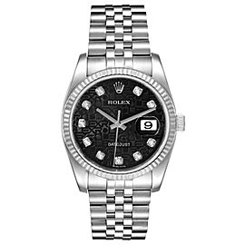 Rolex Datejust Steel White Gold Jubilee Diamond Dial Watch
